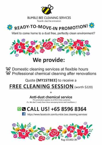 Free Cleaning Session at Bumble Bee Cleaning Services #Singapore