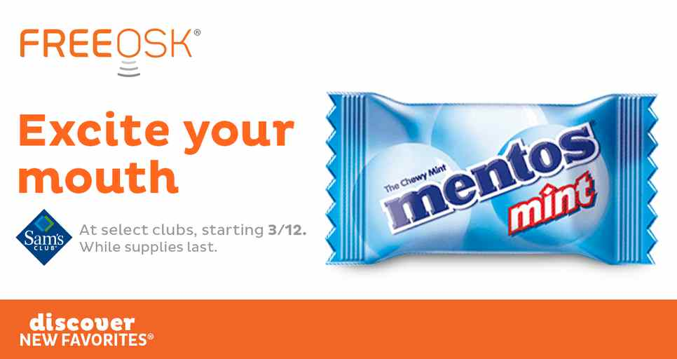 Get a FREE Mentos sample at Sam's Club