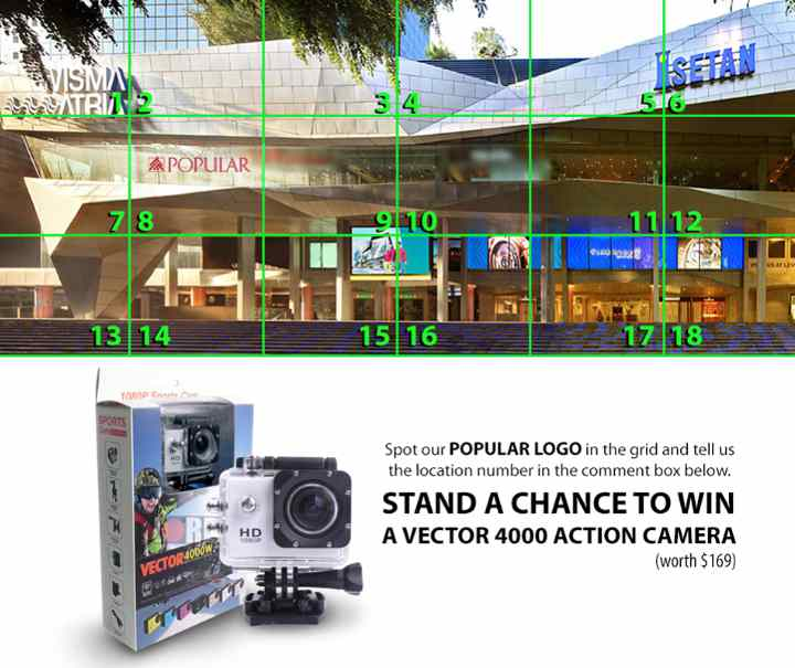 Stand a chance to win a Vector 4000 action camera at Popular Book Company Pte Ltd