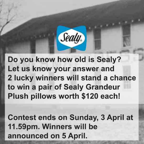 Stand a chance to win a pair of Sealy Grandeur Plush pillows at Sealy Singapore