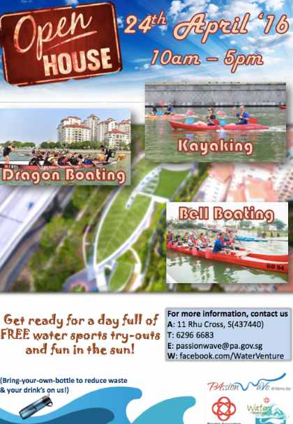 FREE Kayaking, Dragon Boating & Bell Boating tryouts at Water-Venture PAssion Wave @ Marina Bay Open House