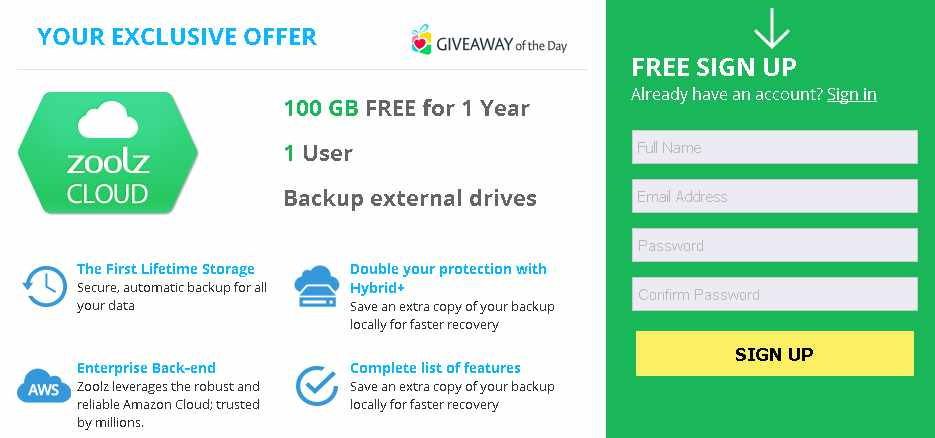 Free 100 GB FREE for 1 Year at Zoolz Cloud