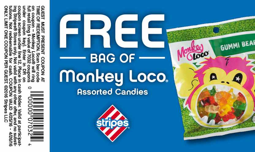 Free Bag of Monkey Loco at Stripes