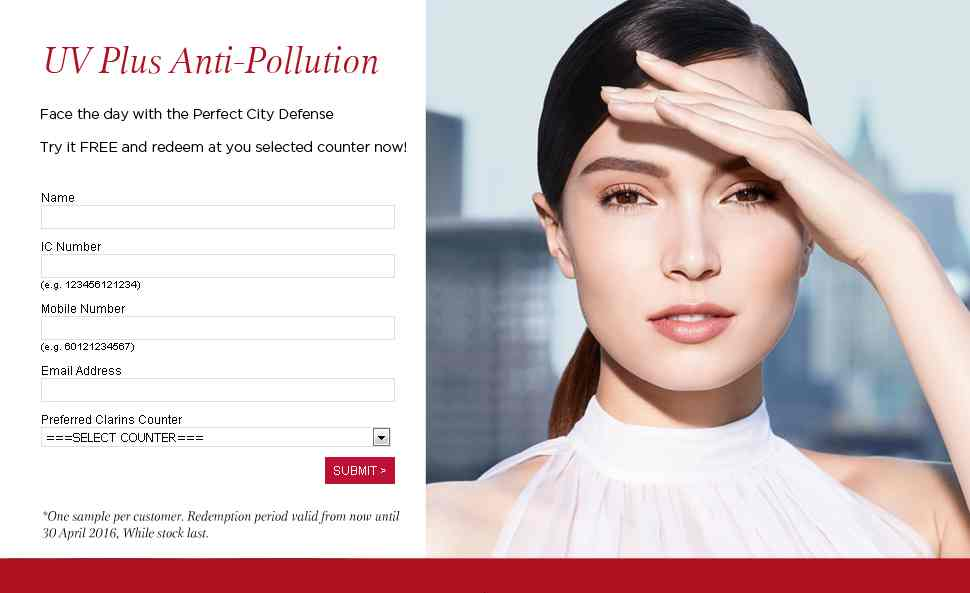 Free UV Plus Anti-Pollution at Clarins Malaysia