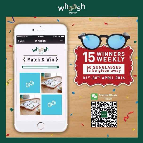 #Win sunglasses through Wechat Match & Win contest at Whoosh Eyewear