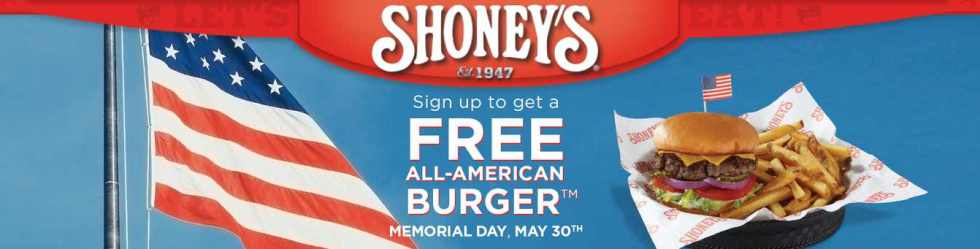 FREE ALL-AMERICAN BURGER™ to all active-duty and veterans of the military on Memorial Day