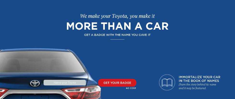 Get your personalized Toyota badge