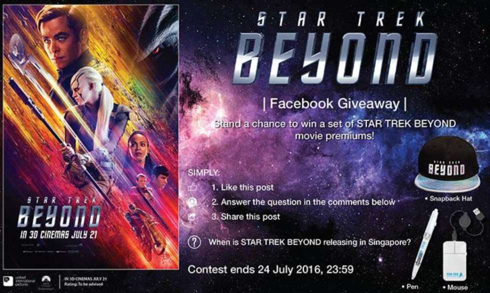 Stand a chance to win a set of STAR TREK BEYOND movie premiums at Filmgarde Cineplex