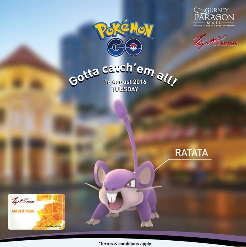 Catch this Pokemon Ratata and walk away with TGV movie tickets at Gurney Paragon Mall
