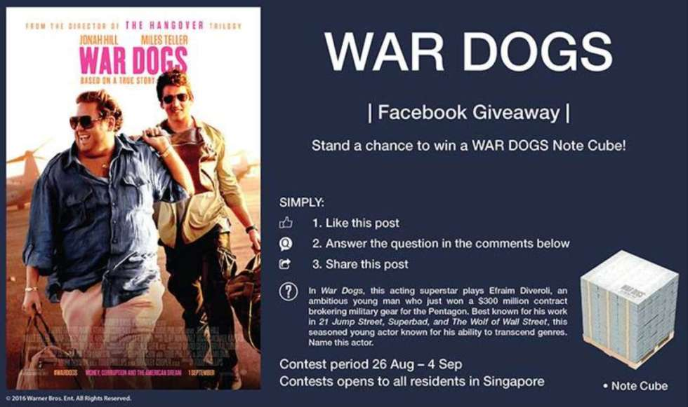 Stand a chance to win a WAR DOGS note cube at Filmgarde Cineplex