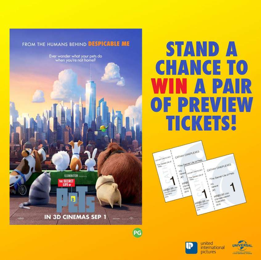 Stand a pair of tickets to #TheSecretLifeOfPets at Cathay Cineplexes