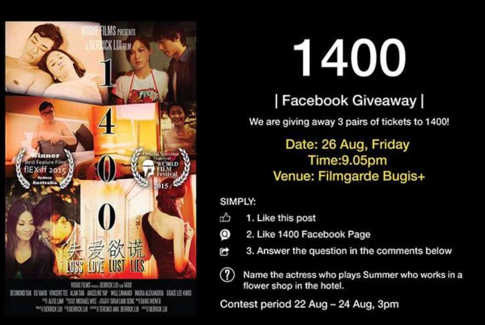 #WIN tickets to 1400 at Filmgarde Cineplex