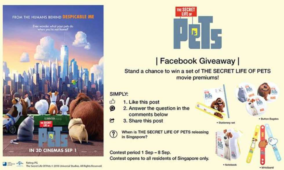 Stand a chance to win a set of THE SECRET LIFE OF PETS movie premiums
