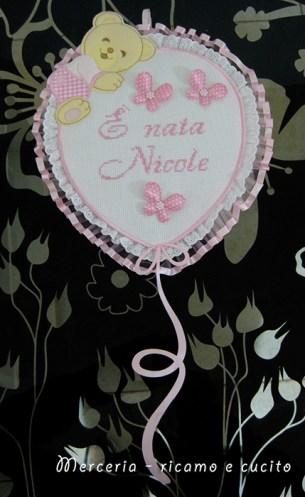 "Fiocco nascita palloncino rosa ""E' nata Noemi"""