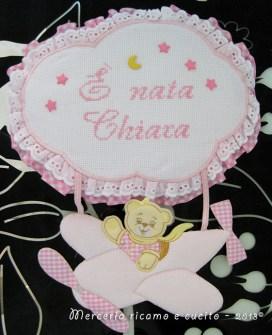 "Fiocco nascita aeroplano rosa ""E' nata Chiara"""