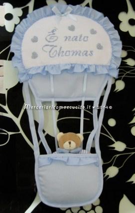 """Fiocco nascita mongolfiera celeste """"E' nato Thomas"""""""