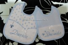 Set corredino per nascita - Lenzuolino, asciugamano, fiocco nascita mongolfiera, beauty pois, bavette, buste e sacchetto per Davide