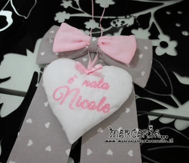 """Fiocco nascita con cuore """"È nata Nicole"""""""