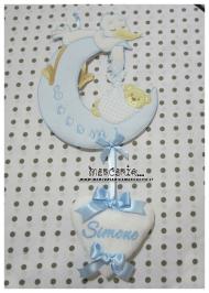 """Fiocco nascita luna con cicogna celeste """"Eccomi"""" e cuore per Simone"""
