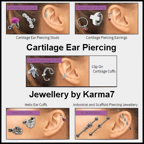 Image featuring different types of cartilage ear piercing jewellery by Karma7