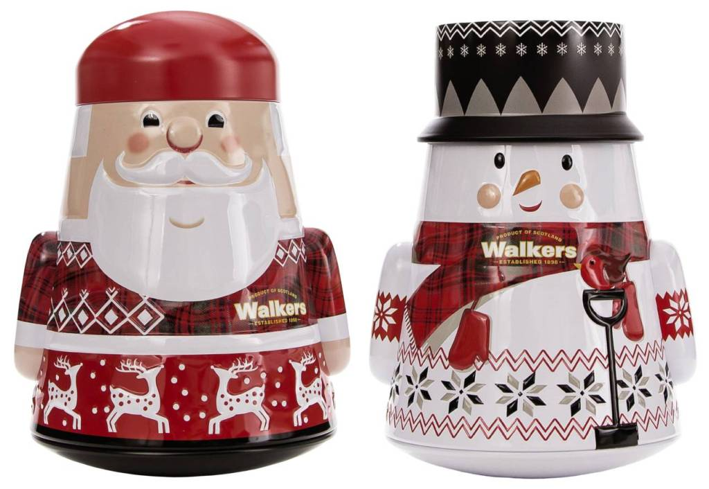 Image showing Walkers Shortbread Wobbly Santa and Snowman Tins.