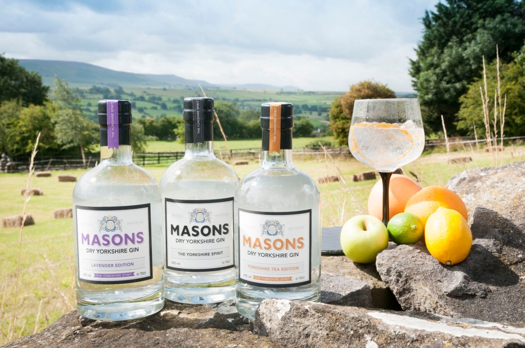 20 cl bottles of Masons Dry Yorkshire Gin, Lavender Yorkshire Gin and Tea Yorkshire Gin.