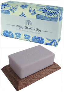 Image showing English Soap Company Mother's Day Soap in wrapper and on soap tray.