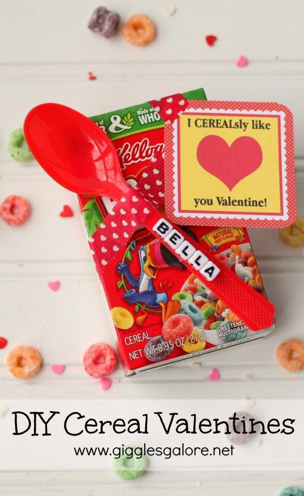 Valentines Day Gifts Personalized DIY Cereal Valentines