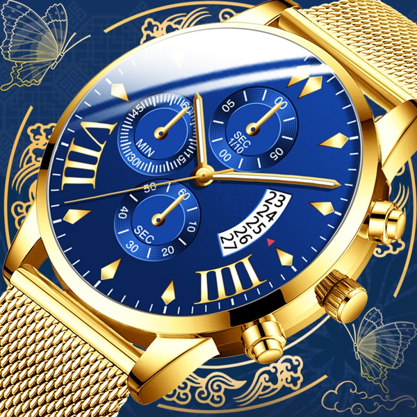 watch-blue golden color