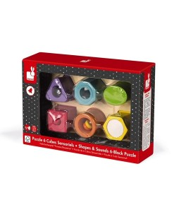 Sensory Wood Shapes & Sounds 6 Block Puzzle sold by Gifts for Little Hands