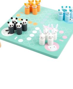 Wooden Ludo Game with Animal Friends