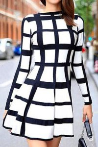 Black & White Round Neck Plaid Dress
