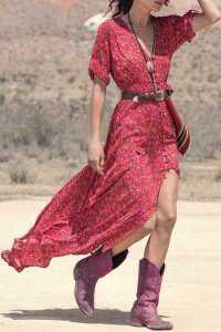 Bohemian Women's V-Neck Printed High Slit three-quarter Sleeve Dress