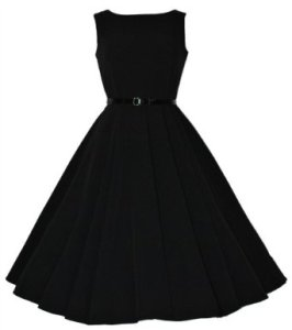 Classic 50's Audrey Hepburn Retro Vintage Style Full Circle Black Swing Dress