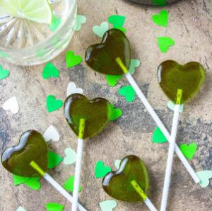 Five Original Heart Shape Alcoholic Gin Elderflower Lollipops