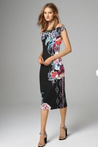 Navy Floral Bardot Bodycon Dress at Next