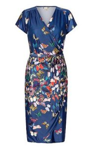 Yumi Blue Butterfly Print Wrap Dress at Debenhams