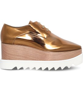 Stella McCartney Elyse Metallic Faux Leather Flatform Brogues