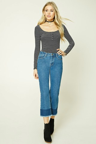 Frayed Ankle Jeans at Forever 21