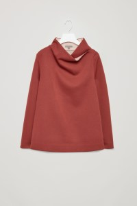Top with draped neck, Orange Dark at COS