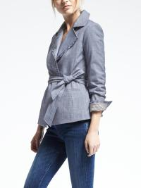 Chambray Belted Wrap Jacket at Banana Republic
