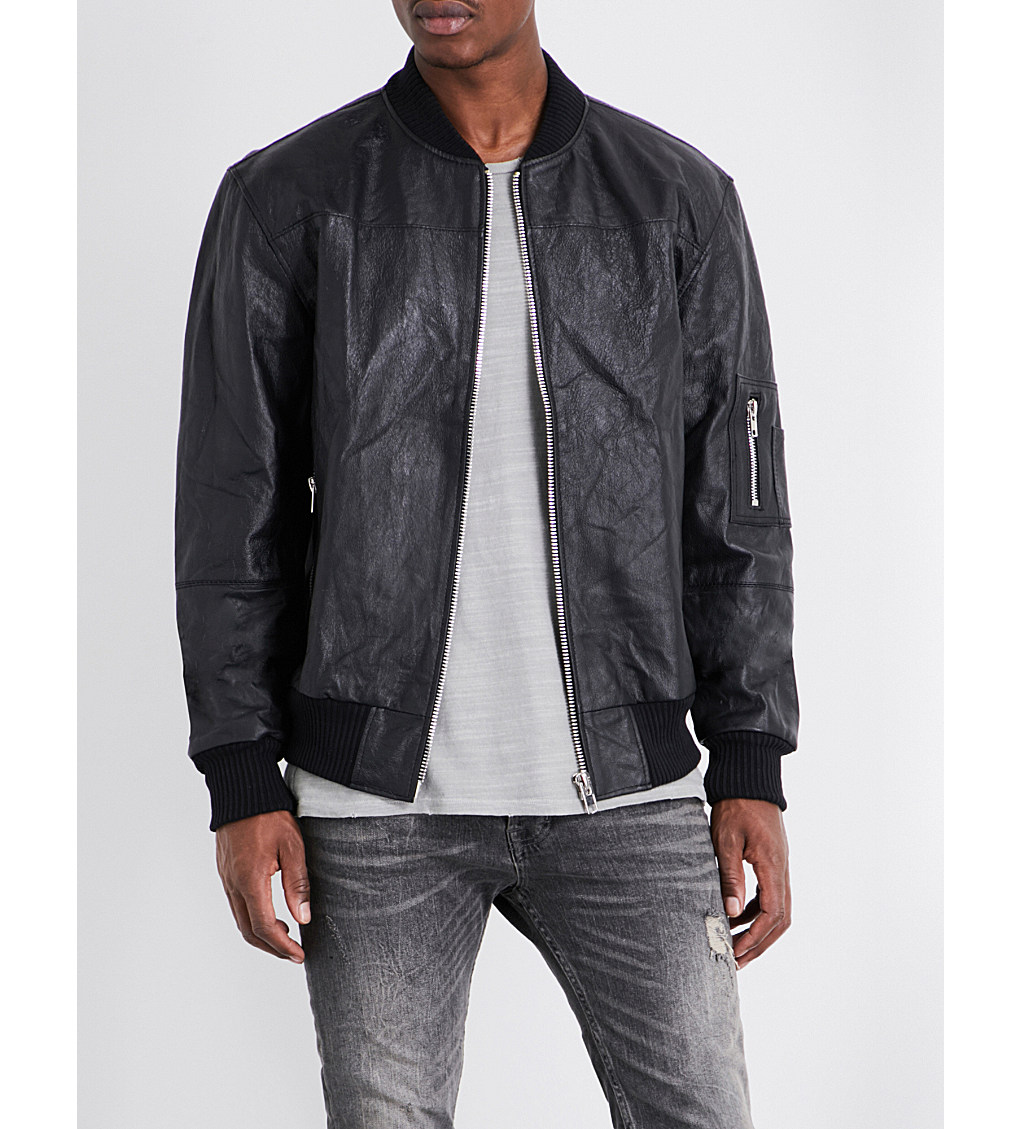 DEADWOOD - Wild Streets recycled leather bomber jacket at Selfridges.com