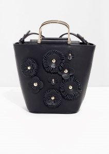 Flower Leather Bucket Bag