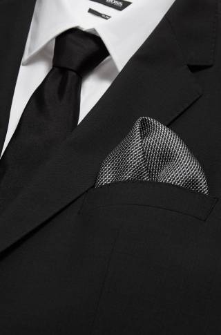 Hugo Boss Finely checked pocket square in silk