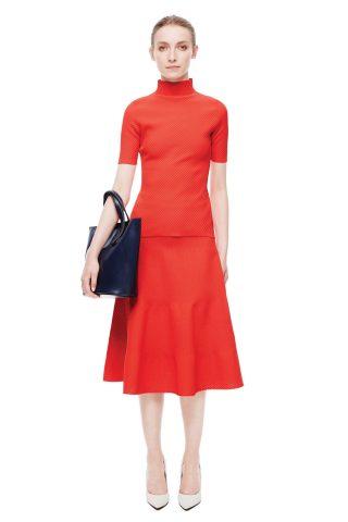 Victoria Beckham Diagonal Stitch Short Sleeve Polo Neck