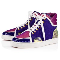 Christian Louboutin SPORTY DUDE LOW PATENT/MINI ALVEOLE Multicolor Fishnet - Men Shoes