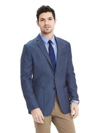 Slim Navy Wool Linen Sport Coat at Banana Republic