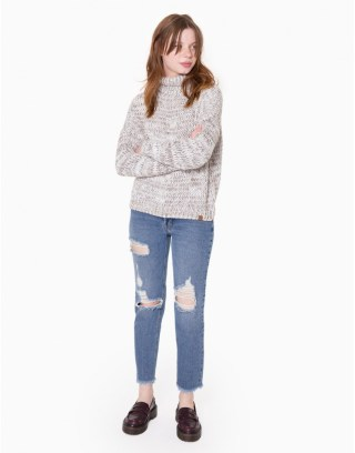 Turtle Neck Oversize Knit Sweater at Double Agent