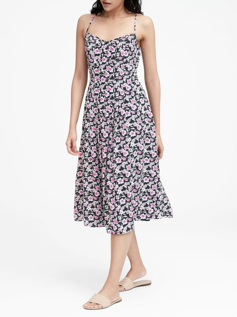 Floral pin-tuck midi dress at Banana Republic