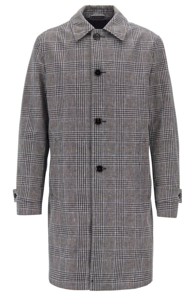 Hugo Boss water repellent coat in a checked linen cotton blend